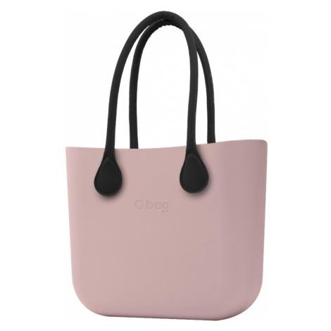 O bag torebka Smoke Pink z czarnymi długimi uchwytami ze skajki