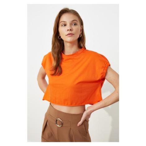 Modyol Pomarańczowy Crop Dzianinowy T-shirt Trendyol