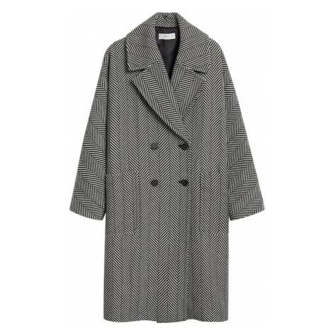 MANGO Płaszcz zimowy czarny / biały