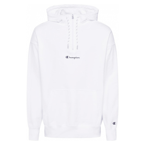 Champion Authentic Athletic Apparel Bluzka sportowa 'Half Zip Hooded Sweatshirt' biały