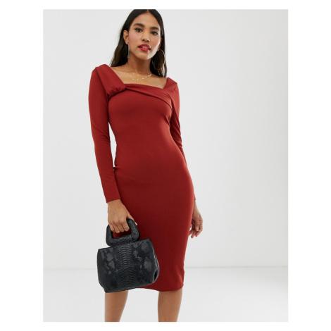 ASOS DESIGN twist square neck midi pencil dress
