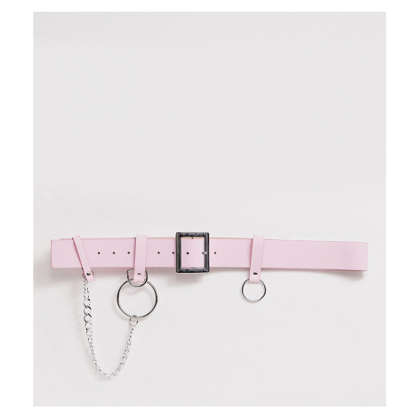 ASOS DESIGN Curve chain and ring waist and hip belt in pastel pink