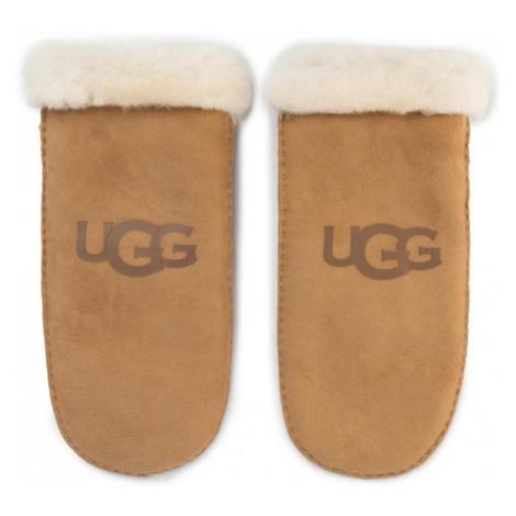 Ugg Rękawiczki Damskie W Sheepskin Logo Mitten 18690 Brązowy