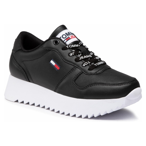 Sneakersy TOMMY JEANS - High Cleated Leather Sneaker EN0EN01120 Black BDS Tommy Hilfiger