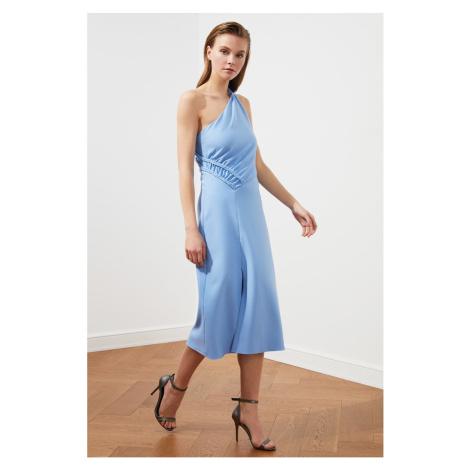 Trendyol Blue Ruffles Szczegółowa sukienka