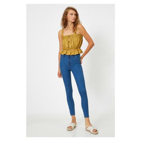 Koton Damskie niebieskie dżinsy z wysokim stanem Skinny Jeans