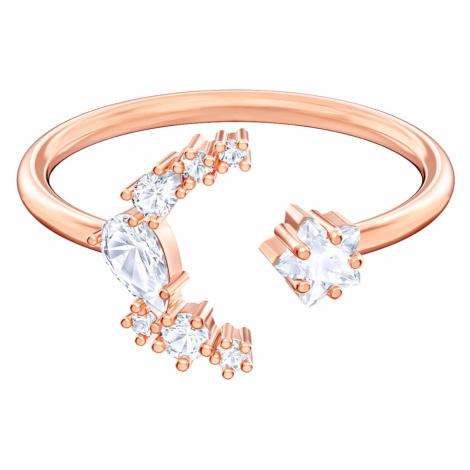 Otwarty pierścionek Moonsun, biały, powlekany różowym złotem Swarovski