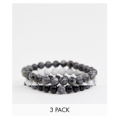 Reclaimed Vintage inspired monochrome semi precious beaded bracelet pack exclusive at ASOS