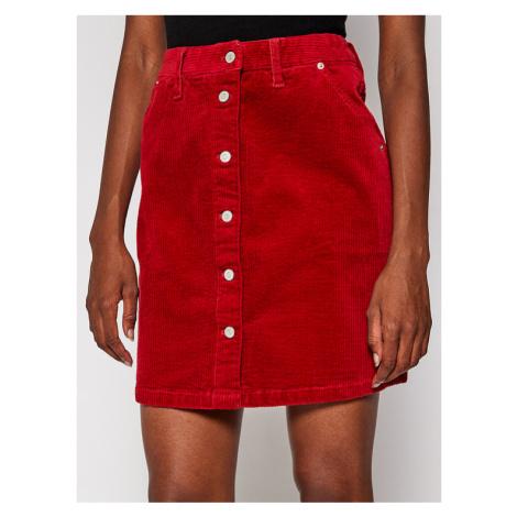 Tommy Jeans Spódnica mini Cord Button Thru DW0DW08899 Czerwony Slim Fit Tommy Hilfiger