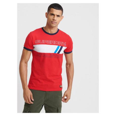T-shirt męski w kolorze czerwonym z nadrukiem Superdry