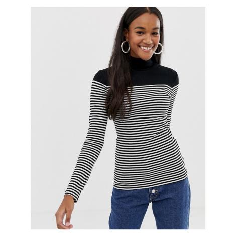 Brave Soul alanis roll neck top in stripe