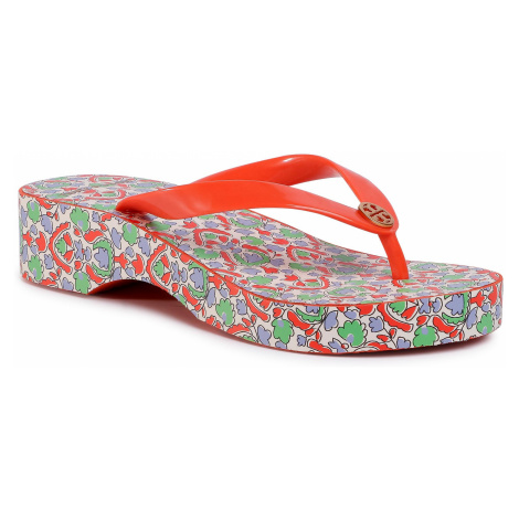 Japonki TORY BURCH - Cut-Out Wedge Flip Flop 63895 Poppy Red//Legacy Paisley 600