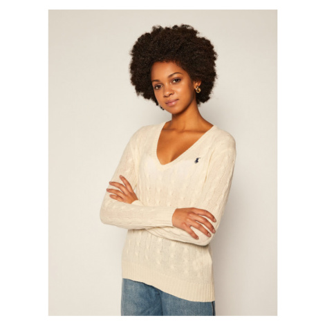 Polo Ralph Lauren Sweter Kimberly Wool/Cashmere 211508656015 Biały Regular Fit