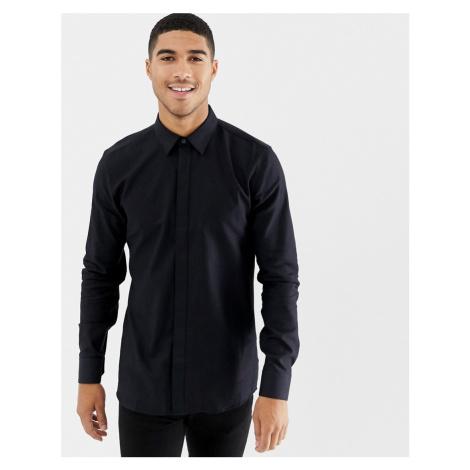 HUGO Elisha extra slim fit glitter shirt in black Hugo Boss