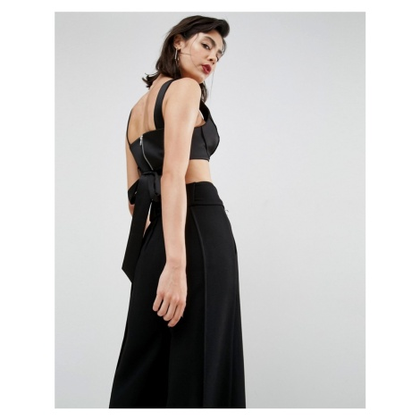 ASOS PREMIUM Satin Bralet With Tie Detail