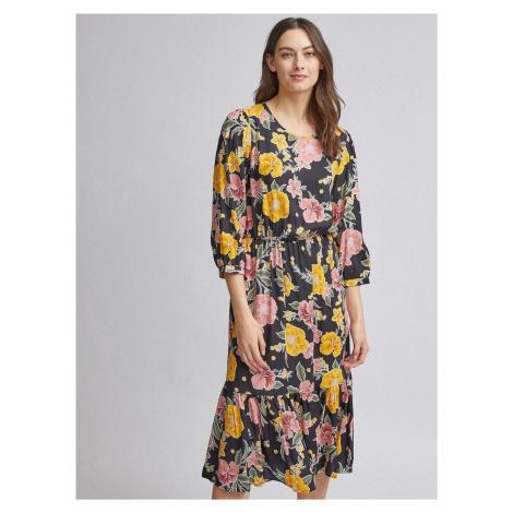Czarna sukienka midi w kwiaty Dorothy Perkins