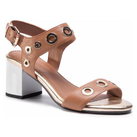 Sandały TOMMY HILFIGER - Blocky Mid Heel Metallic Eyelets FW0FW02821 Summer Cognac 929