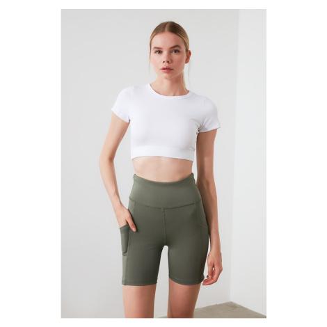 Trendyol Khaki High Waist Pocket Detailed Sports Shorts