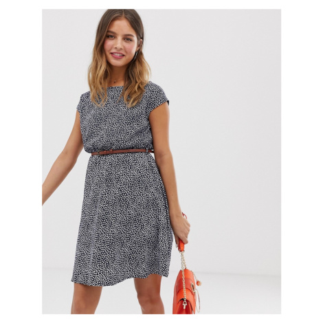 Yumi belted skater dress in mini ditsy floral print
