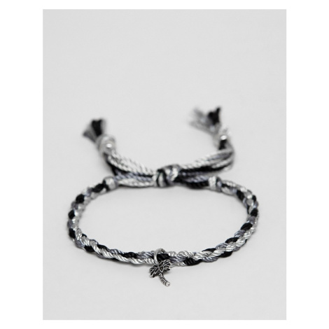Classics 77 plaited bracelet in black & white with palm tree charm