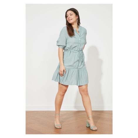 Suknia z teksturą tkaniny Trendyol Mint Textured Binding Detail