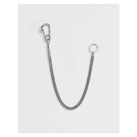 ASOS DESIGN chunky jean key chain with mountain clasp in shiny silver tone