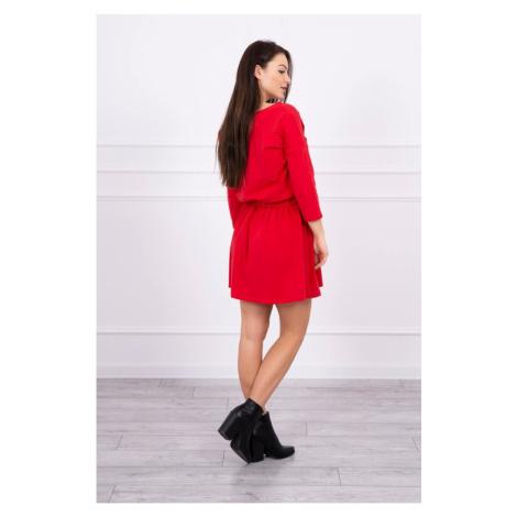 Sukienka wiązana w talii z kieszenią na cekiny czerwona S/M-L/XL