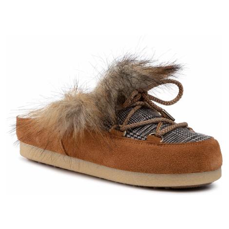 Kapcie MOON BOOT - Far Side Sabot Faux Fox Fur 242013001 Whisky
