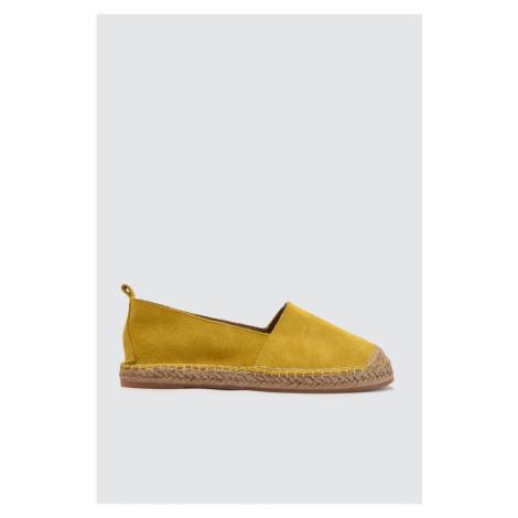 Trendyol Yellow Genuine Leather Słoma Dół Damskie Płaskie Buty