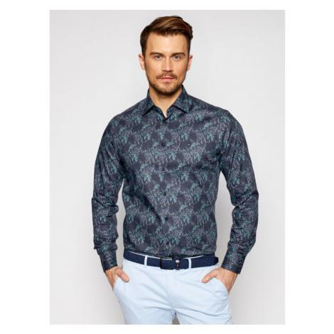 Tommy Hilfiger Tailored Koszula Teal Floral MW0MW16487 Granatowy Regular Fit