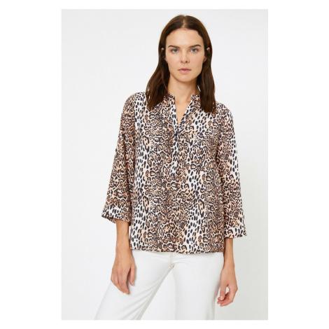 Koton Kobieta Brown Leopard Print Bluzka