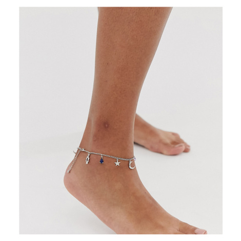 ASOS DESIGN Curve anklet with mystical charms and hamsa hand pendants in silver tone