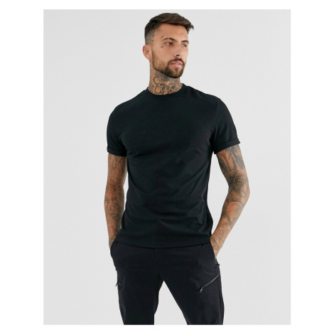 ASOS DESIGN recycled t-shirt with crew neck and roll sleeve in black