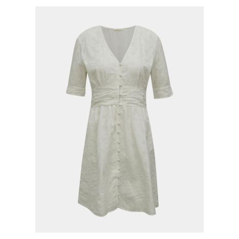 Biała sukienka z madeirą ONLY Oda