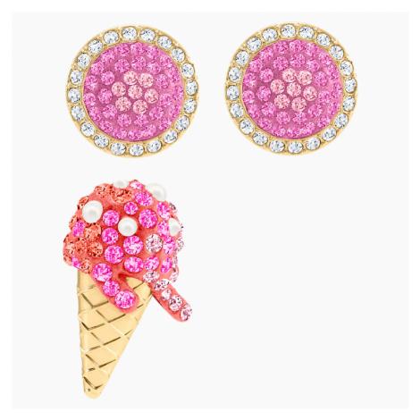 No Regrets Ice Cream Pierced Earrings, Multi-colored, Gold-tone plated Swarovski