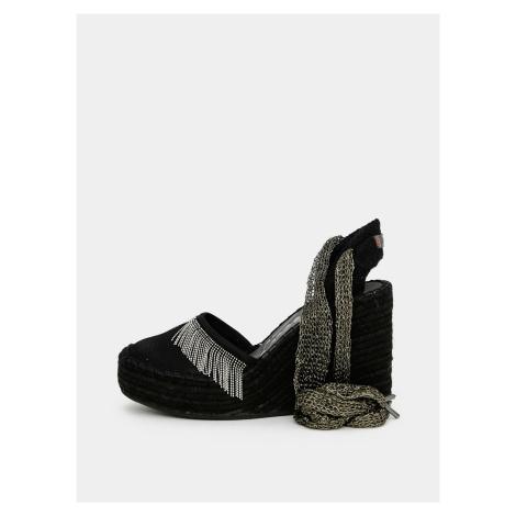 Czarne sandały na koturnie Replay