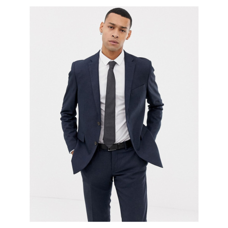 Esprit slim fit suit jacket in blue twisted yarn