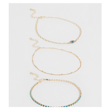 ASOS DESIGN Curve pack of 3 anklets with ball chain and crystal eye charm in gold tone