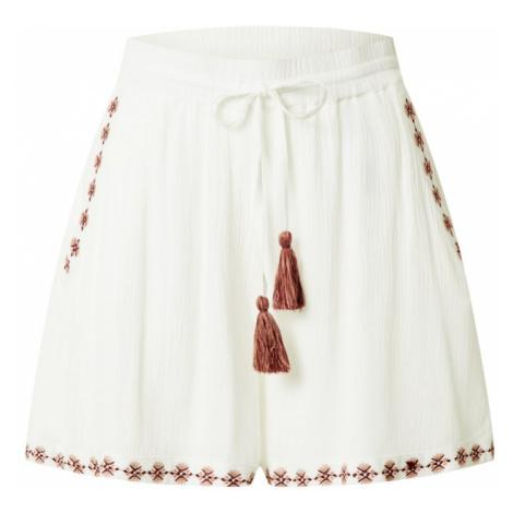 VERO MODA Spodnie 'NEW HOUSTON' biały / bordowy / stary róż