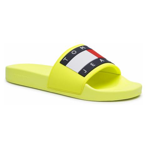 Klapki TOMMY JEANS - Flag Pool Slide EM0EM00689 Hyper Yellow ZQF Tommy Hilfiger