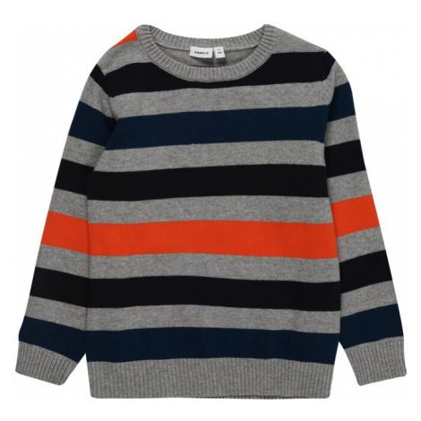 NAME IT Sweter 'NUCE' granatowy / czarny / nakrapiany szary / pomarańczowy