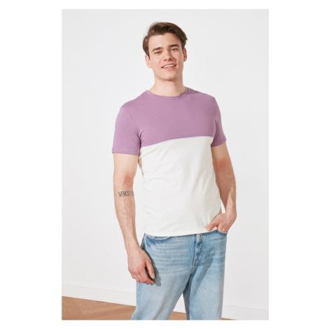 Trendyol Fioletowy Mężczyzna Slim Fit Krótki rękaw Kolor Bloku T-Shirt
