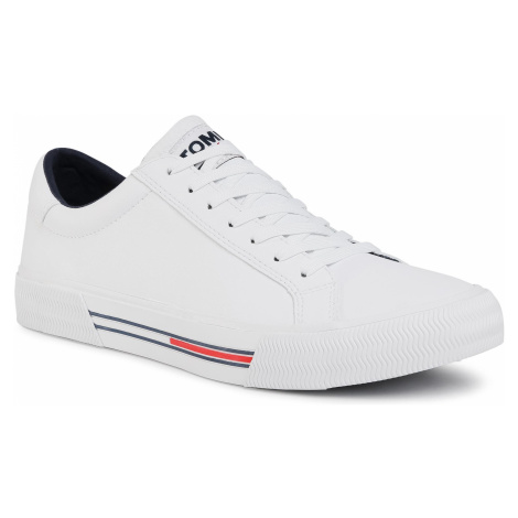 Tenisówki TOMMY JEANS - Essential Leather Sneaker White YBR Tommy Hilfiger
