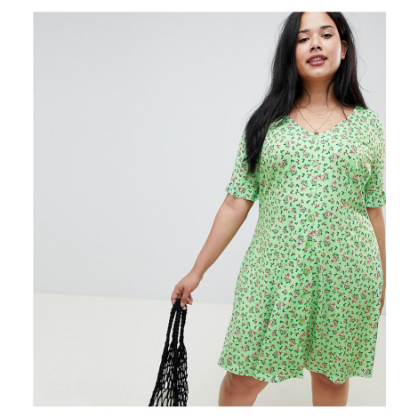ASOS DESIGN Curve button through tea dress with frill sleeve in slinky floral