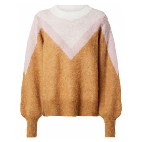 OBJECT Sweter 'Ebba' jasnobrązowy / jasny beż / jasnoróżowy