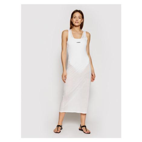 Calvin Klein Swimwear Sukienka plażowa KW0KW01355 Biały Regular Fit