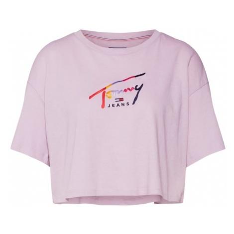 Tommy Jeans Koszulka oversize 'TJW CROPPED TOMMY SCRIPT TEE' liliowy / mieszane kolory Tommy Hilfiger