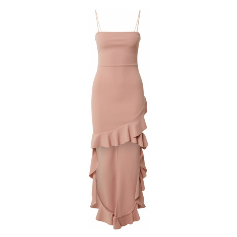 Missguided Sukienka 'SQUARE NECK RUFFLE HIGH LOW DRESS' różowy pudrowy