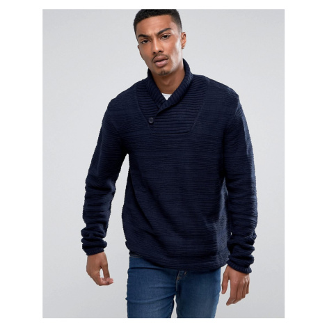 Bellfield Textured Shawl Collar Jumper