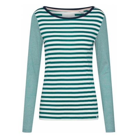 ESPRIT Koszulka 'OCS StripedT T-Shirts' szmaragdowy / biały